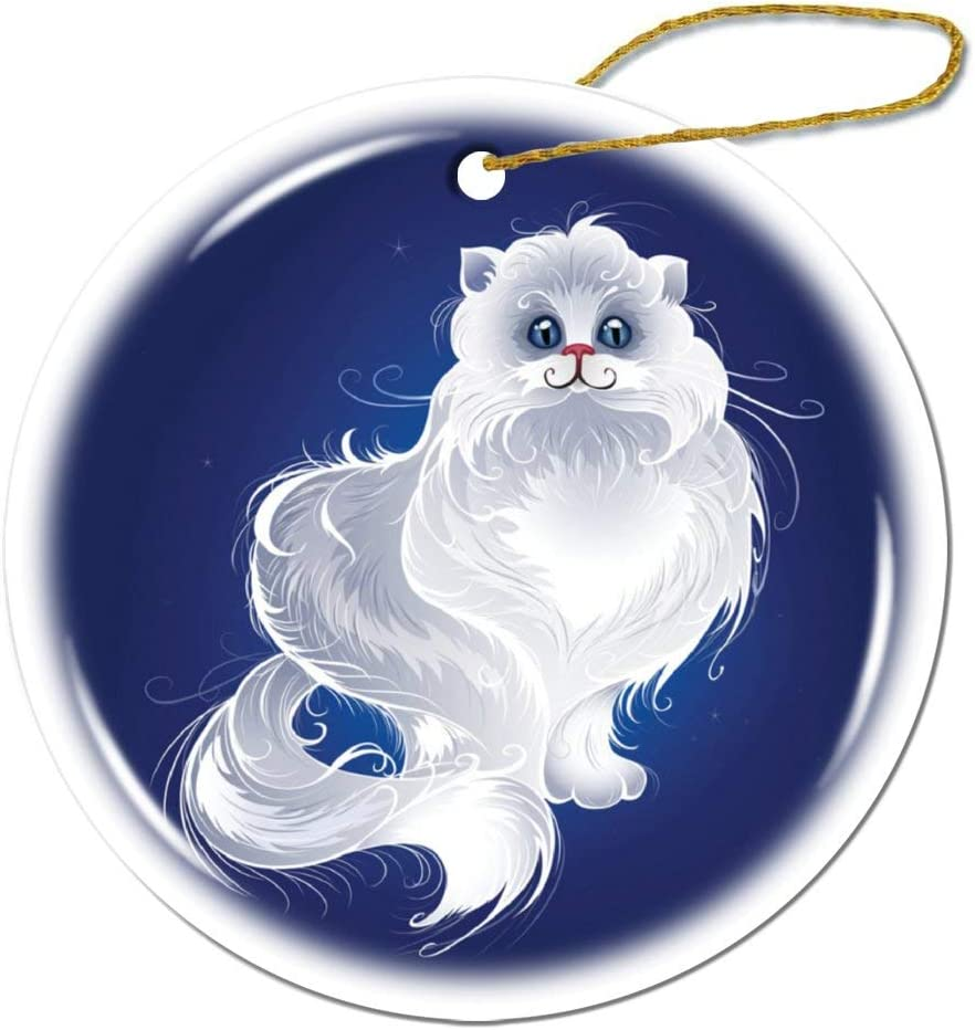 Fhdang Decor Magic Persian Cat Christmas Ornament Porcelain Double-Sided Ceramic Ornament,3 Inches