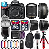Holiday Saving Bundle for D610 DSLR Camera + 18-140mm VR Lens + 35mm 1.8G DX Lens + Flash with LCD Display + 2.2x Telephoto Lens + 0.43x Wide Angle Lens + 6PC Graduated Color - International Version