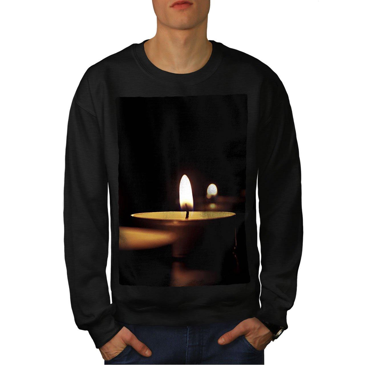 wellcoda Meditation Candle Nature Mens Sweatshirt Warm Casual Jumper