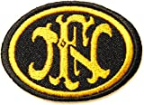 FNH FN HERSTAL Rifle Pistol Gun Shotgun Firearms Knife Logo Jacket T shirt Patch Sew Iron on Embroidered Symbol Badge Cloth Sign By Prinya Shop (gold)