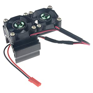 HobbyMarking 1/10 RC 540/550 Motor Aluminum Heatsink Twin 30mm Cooling Fan for HPI Truck Crawler Traxxas 1/10 Slash 4X4