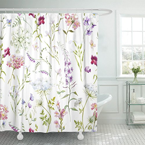 (TOMPOP Shower Curtain Watercolor Floral Pattern Delicate Flower Wildflowers Pink Tansy Pansies Waterproof Polyester Fabric 72 x 72 Inches Set with Hooks)