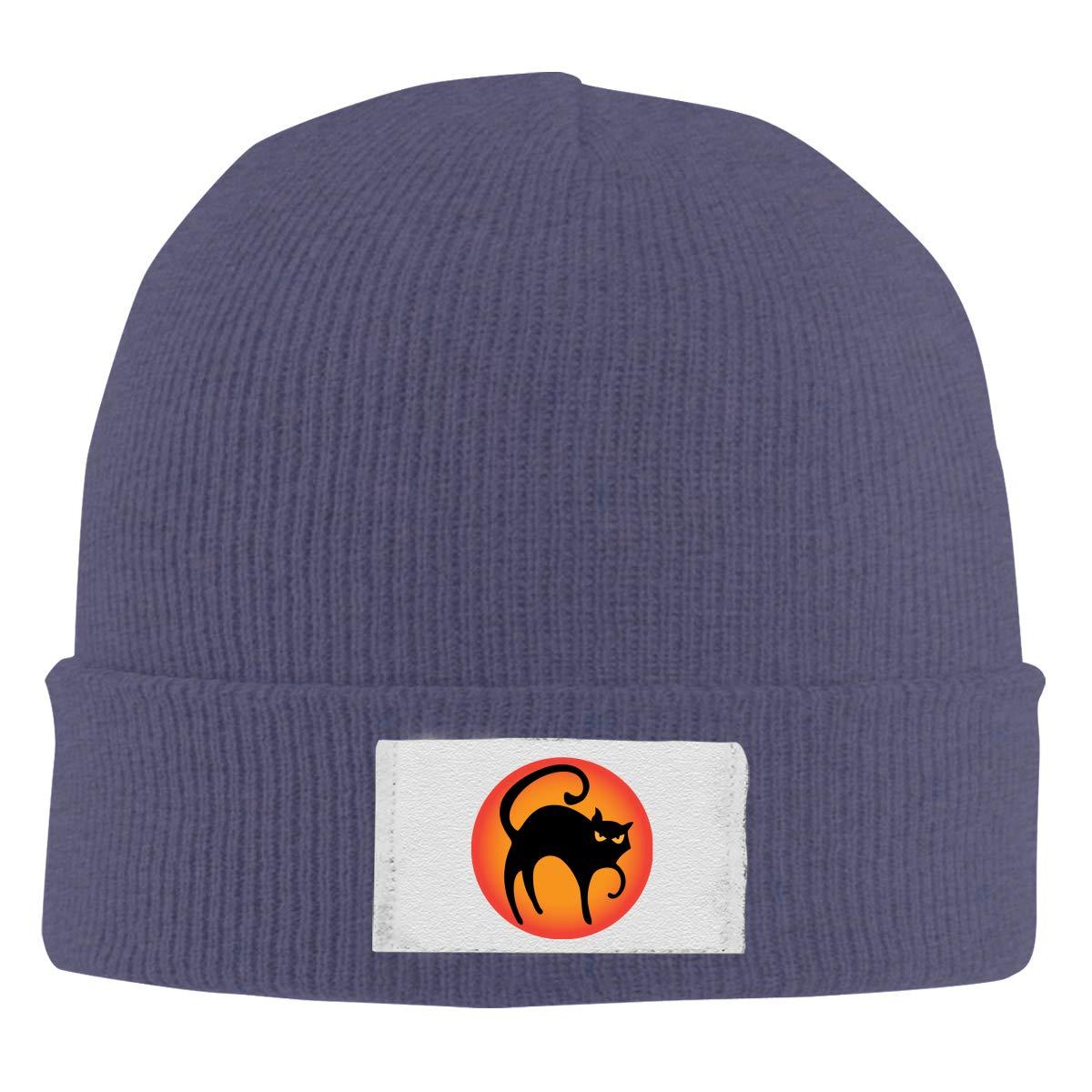 Black Cat Knitted Hat Winter Outdoor Hat Warm Beanie Caps for Men Women