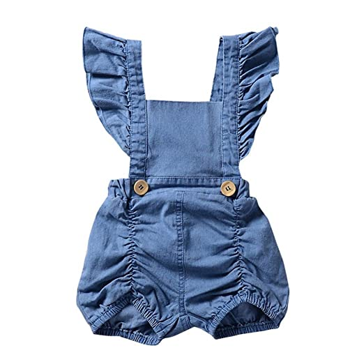 de89d19d0 Amazon.com: Hatoys Infant/Toddler Baby Girl One Piece Denim Ruffles Romper,  Backless Jumpsuit Outfits Set: Clothing