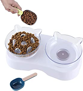 Petlex Elevated Dog Slow Feeder Bowl with Food Spoon, Raised 15° Cat Food Bowls Slow Cat Feeder, Dog Bowls to Slow Down Eating, Healthy Diet Design for Small Medium Size Dogs & Cats