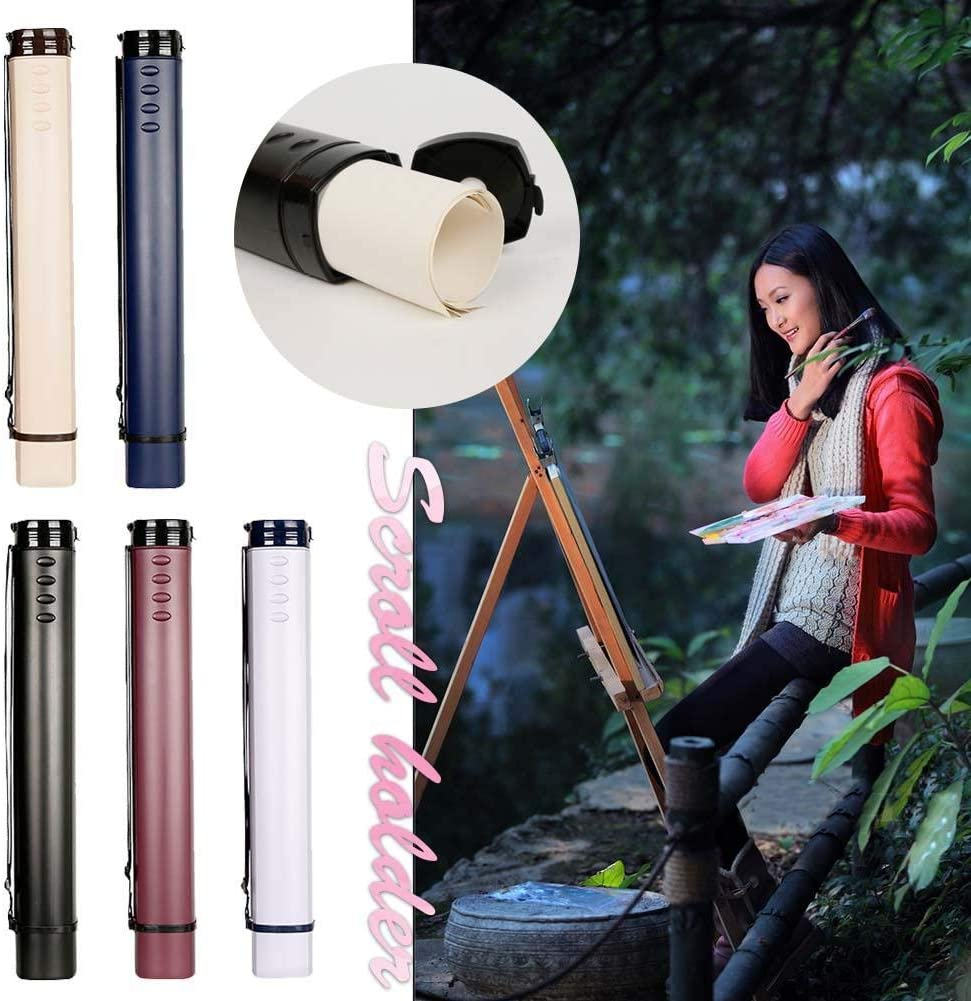 PROKTH Poster Tube with Strap Large Telescopic Drawing Paper Tube Square Drawing Tube Calligraphy Painting Collection Tube Barrel Art Tools Scroll Holder