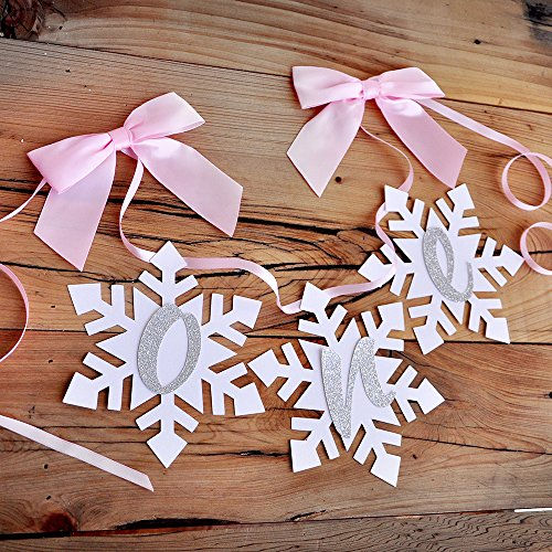 Winter Onederland Snowflake Highchair Banner in Pink and Silver. One High Chair Banner. -