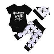 Baby Boys Clothes,3Pcs 'Handsome Just Like Dad' Letter Print Colthes Bodysuit Romper Set Black Layette 0-24 Months Spring/Summer (6-12 Months)