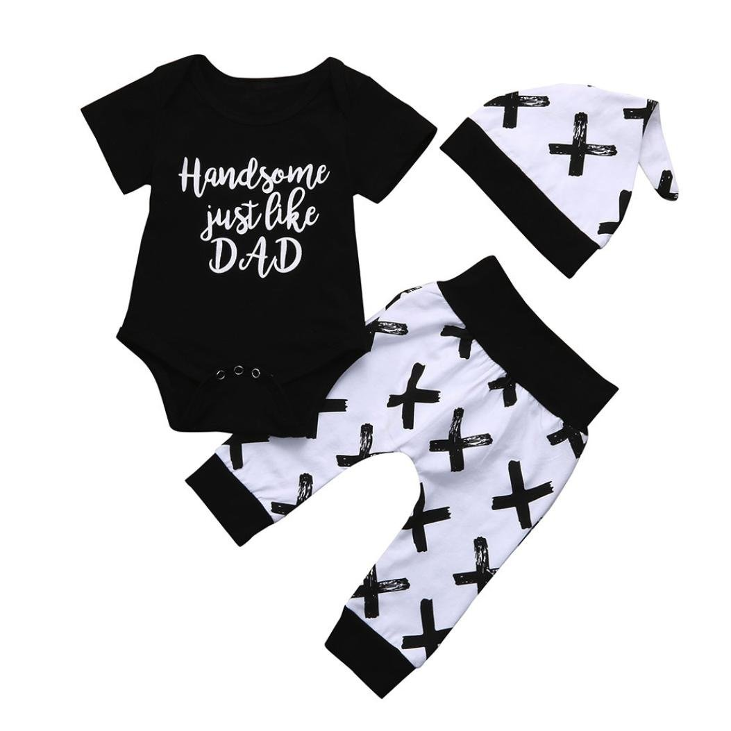 Memela Baby Boys Clothes,3Pcs 'Handsome Just Like Dad' Colthes Bodysuit Romper Set Black Layette 0-24 Months Spring/Summer