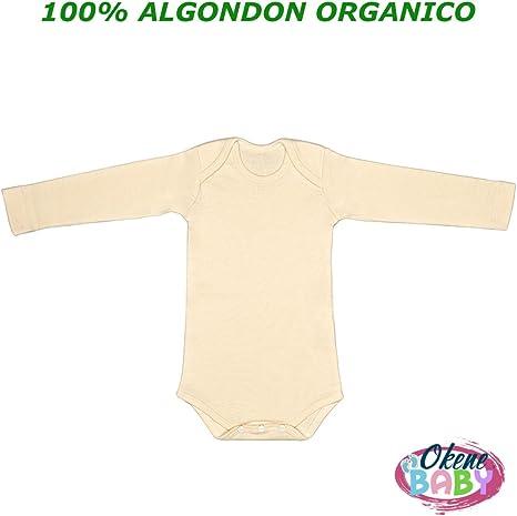 Body Bebe 100% Algodon Organico Manga Larga | Bodies para Bebes Unisex de Color Beige / Natural marca Okene | Talla 0-1 Meses: Amazon.es: Bebé