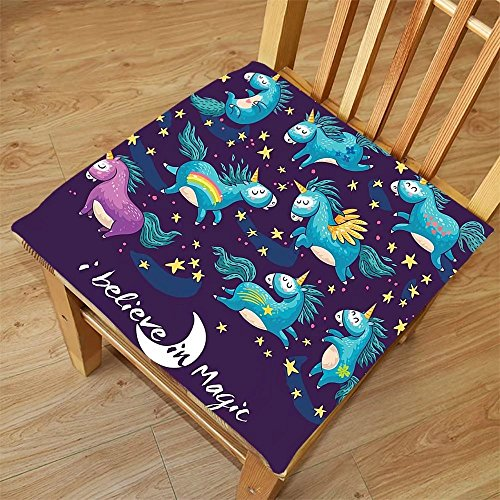 Nalahome Set of 2 Waterproof Cozy Seat Protector Cushion Unicorn Home and Kids Decor Original Divine Winged Unicorn Horned Horse Miracle Art Design Teal Blue Printing Size - With Glasses Eyeliner Winged