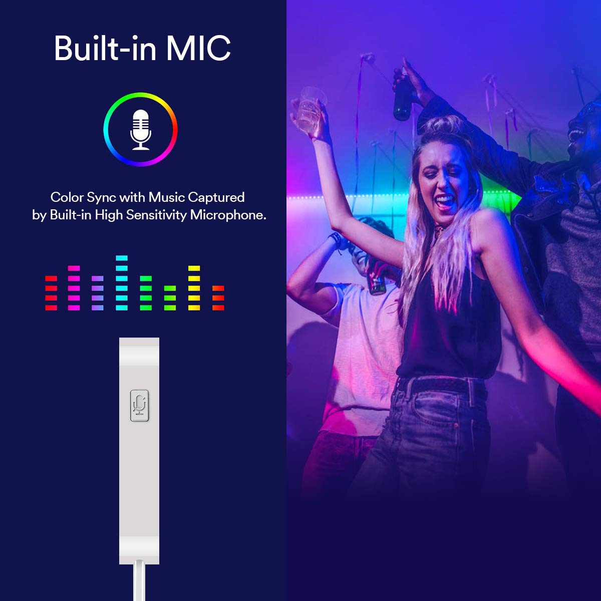 Rétro-éclairage à LED Pour TV, 2M USB Rubans Lumineux à LED, Bandeau de Lumière LED Synchronisation par Micro à la Musique, Bande lumineuses USB RGB 5050 pour 40\