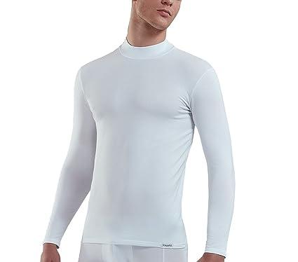 095d4148661470 DOREANSE Herren Langarmshirt Männer Stehkragen Unterhemd Baumwolle  Longsleeve Sportshirt Multipack erhältlich Schwarz Weiss (Weiss