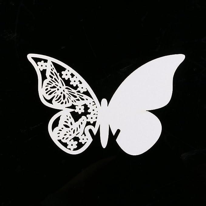 dise/ño de Mariposa Color Blanco Blanco 110 mm x 70 mm Desconocido Tarjetas Decorativas troqueladas para Copas mesas y Souvenir
