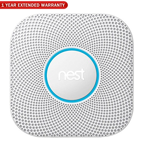 Nest (S3003LWES) Protect Wired Smoke and Carbon Monoxide Alarm, 2nd Gen - White + 1 Year Extended Warranty