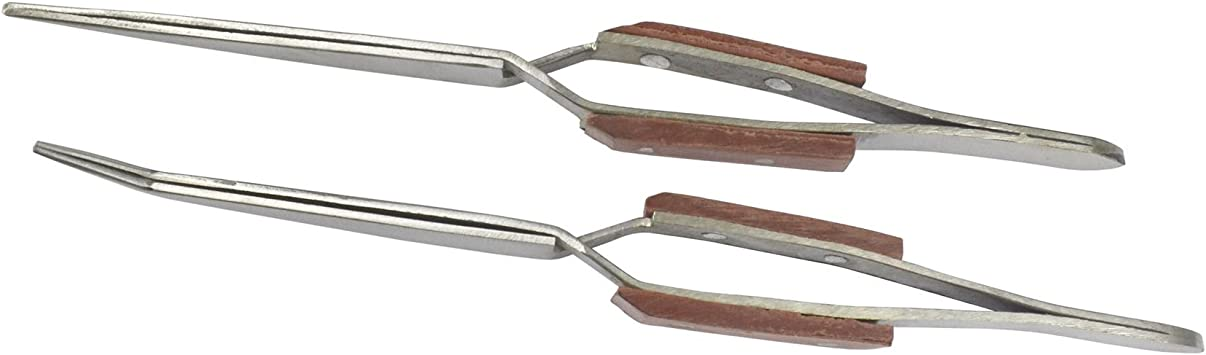 2 x Self Locking Closing Tweezers Straight Curved Tweezer Anvil Wood Grip TE748