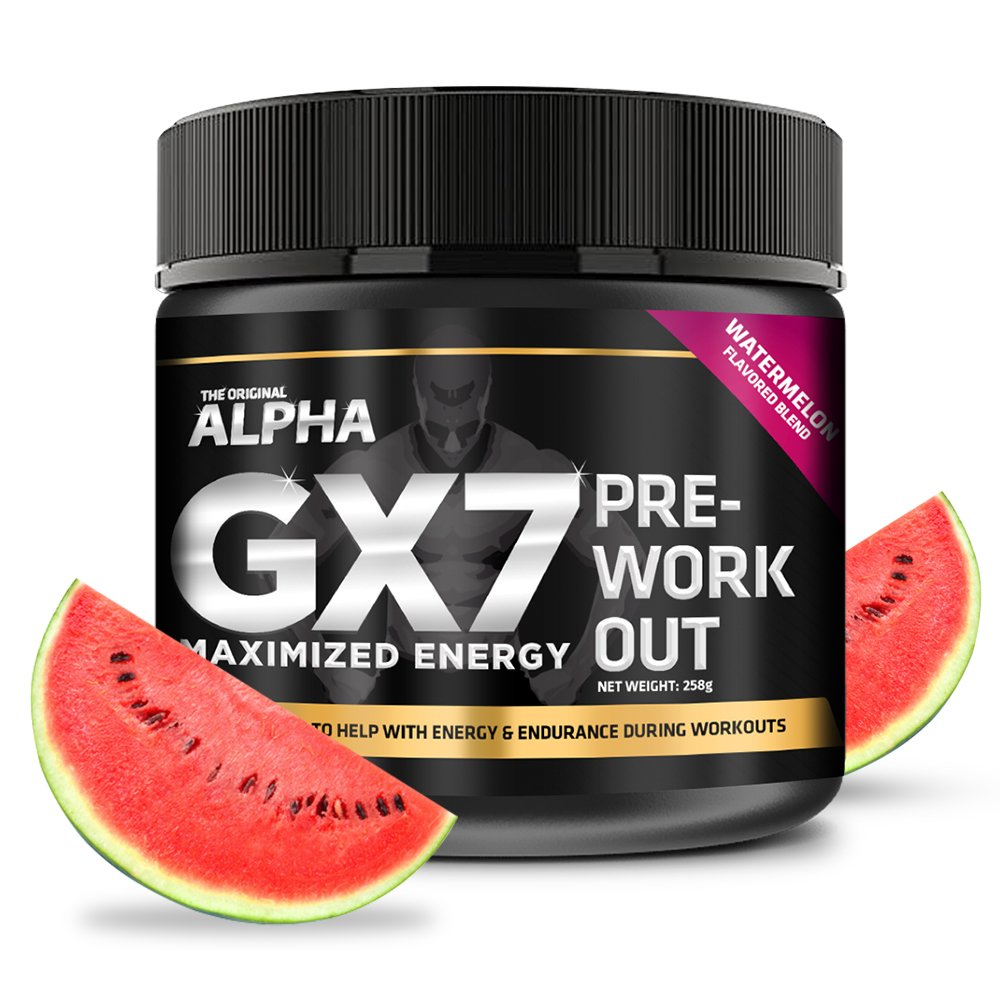 Alpha Gx7 Pre-workout - Maximized Energy - For Workouts 245g - 30 Servings Watermelon Flavor