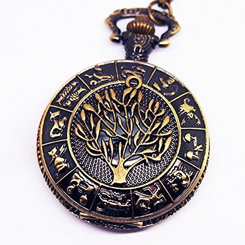 Vintage Tree of Life Pocket Watch Fairy Tale Alice in Wonderland Constellation Casestars Golden Pocket Watch