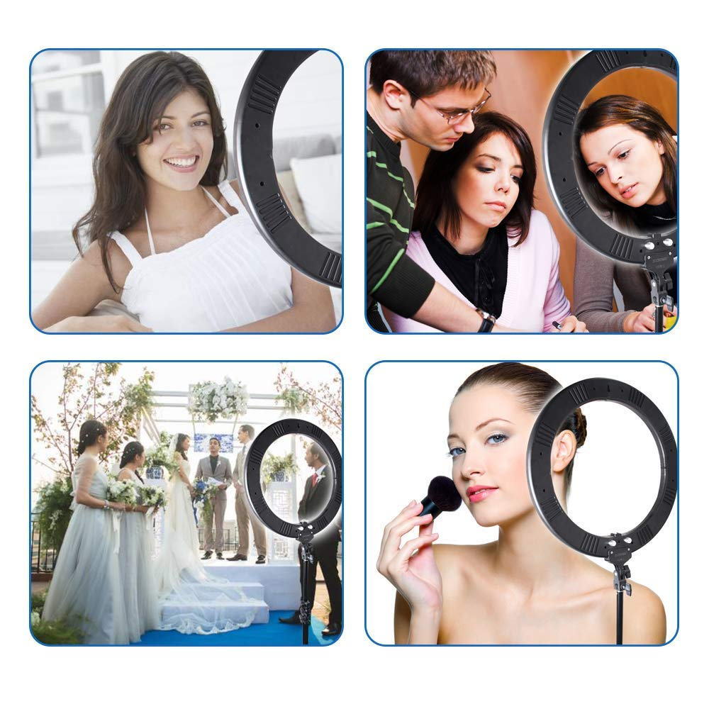 Zomei Ring Light 18 inch Ring Light with Stand, LED Dimmable 50W 3200-5500K Carrying Bag for Camera Smartphone, You Tube,Self-Portrait Shooting Good for Beauty Facial Make Up Live Stream
