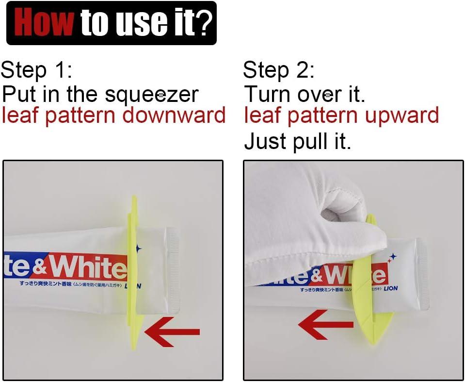 JQK Toothpaste Tube Squeezer Dispenser Green Leaf Shape 4 Pack TTS01-P4