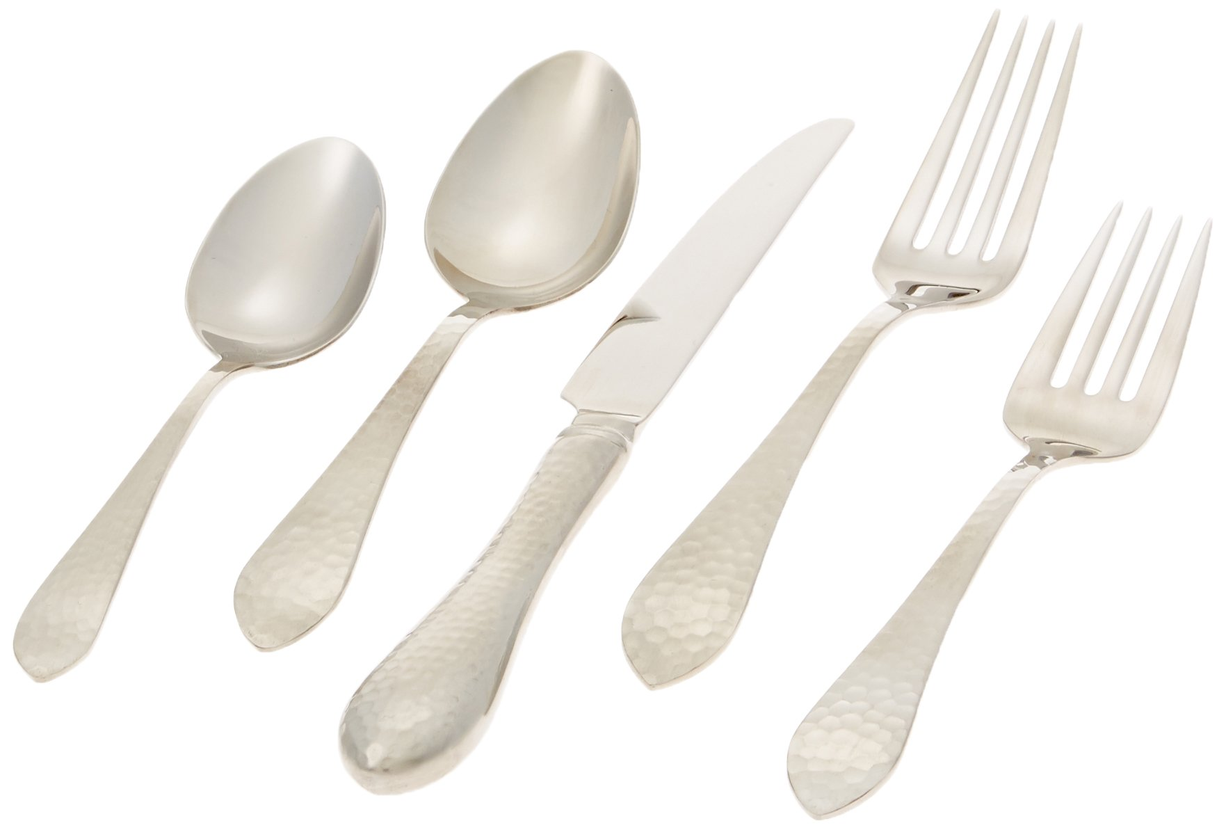 Reed & Barton Hammered Antique 18/10 Stainless Steel 5-Piece Place Setting, Service for 1