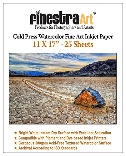 - 11 X 17 Cold Press Watercolor Fine Art Inkjet Paper 300gsm 25 Sheets