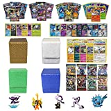 Playoly Pokemon Premium Collection 100 Cards with GX Mega EX Shining Holo 10 Rares 4 Booster Pack, Figure 1 Dragonhide Deck Box (Gold, Blue, Green, or White)