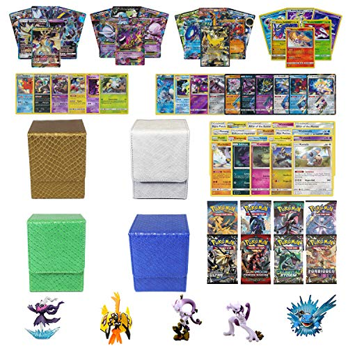 (Playoly Pokemon Premium Collection 100 Cards with GX Mega EX Shining Holo 10 Rares 4 Booster Pack, Figure 1 Dragonhide Deck Box (Gold, Blue, Green, or White))