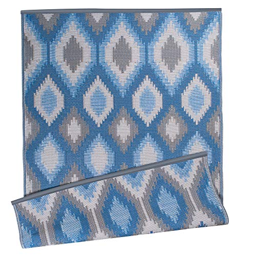 DII Contemporary Indoor/Outdoor Lightweight, Reversible, & Fade Resistant Area Rug, Use For Patio, Deck, Garage, Picnic, Beach, Camping, BBQ, Or Everyday Use - 4 x 6', Blue Ikat
