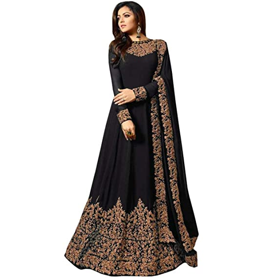 fc658b11cc Ethnic Wing Black Georgette Anarkali Gown Semi-Stitched Suit (Brown ...
