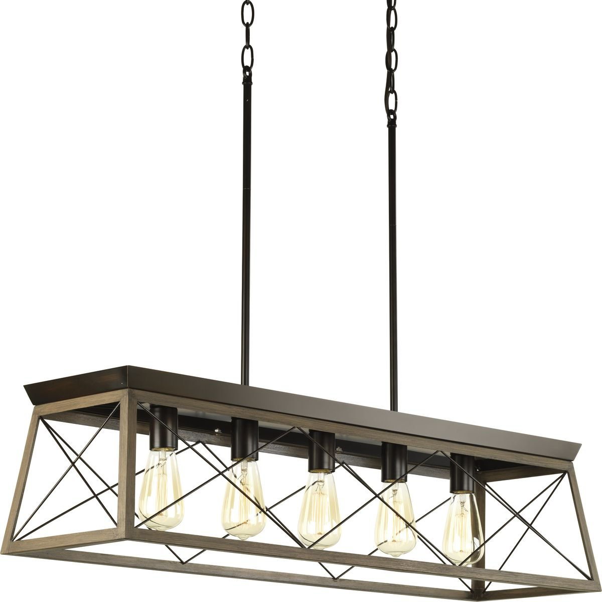 Progress Lighting P400048-020 Briarwood Antique Bronze Five-Light Linear Chandelier,