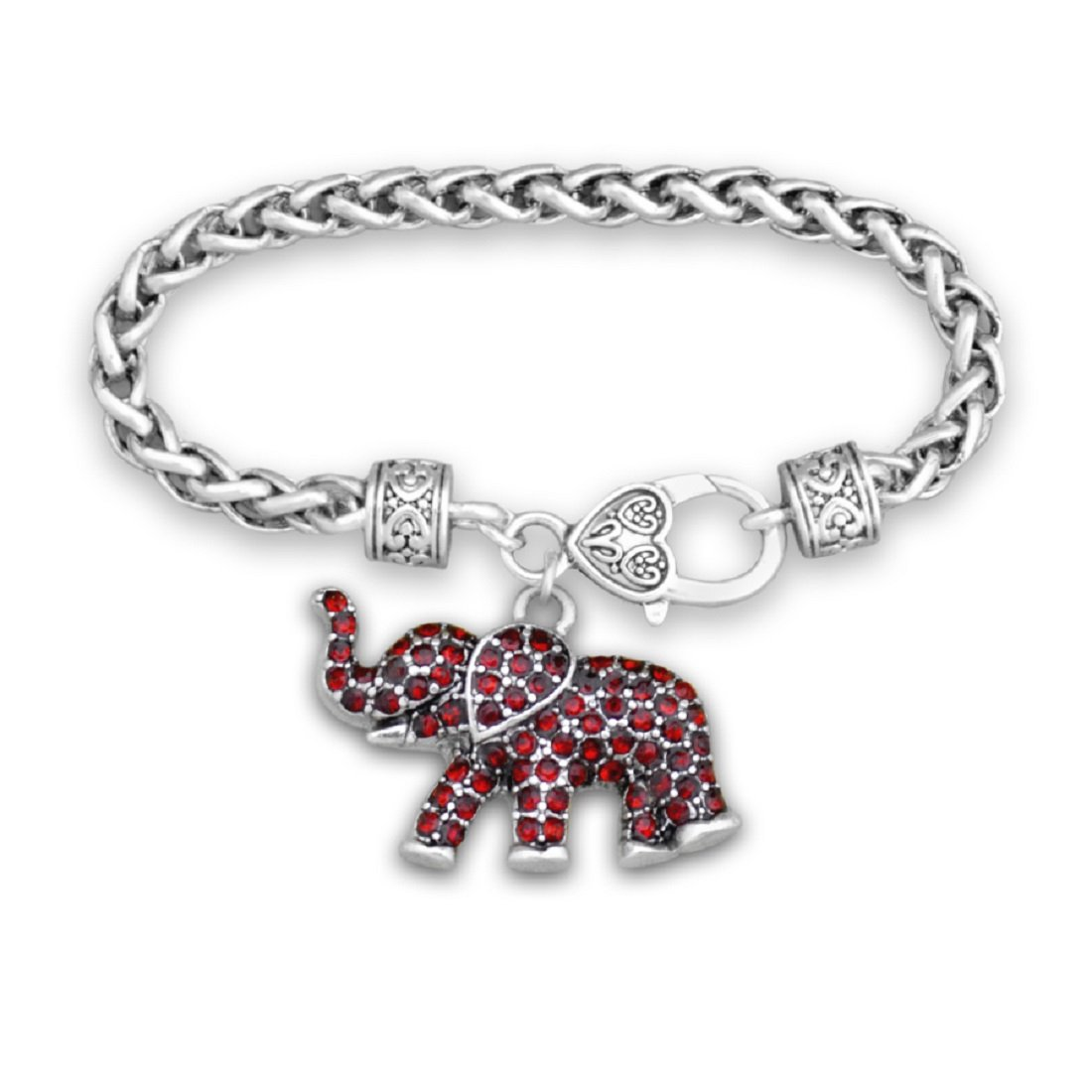 FTH Silver Toned Lobster Clasp Bracelet with Red Rhinestone Elephant