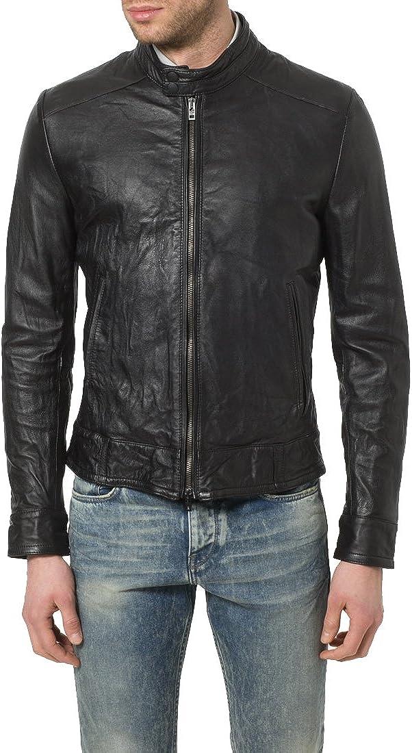 Mens Genuine Lambskin Leather Jacket Slim fit Motorcycle Jacket P154