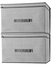 SortWise ® 2 Pack Foldable Lidded Storage Bins Storage Basket With Lid Storage Boxes With Handles Cloth Storage Box Toys Clothes Papers Books Linen Storage Shelves Organizers for Home Bedroom Closet Office