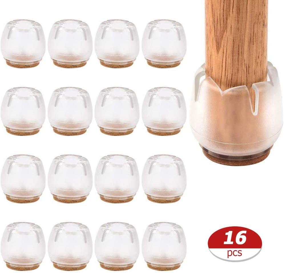 LAOZI 16PCS Almohadillas para Patas de Silla Almohadillas para pies Cubiertas para Patas de Silla Tapa para Patas de Silla antiara/ñazos Cubierta de Pierna para Silla Transparente