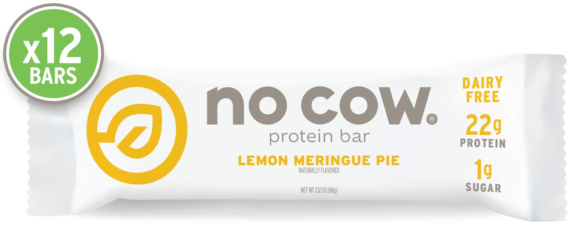 No Cow Protein bar, Lemon Meringue Pie, 22g Plant Based Protein, Keto Friendly, Low Sugar, Dairy Free, Gluten Free, Vegan, High Fiber, Non-GMO, 12Count by No Cow
