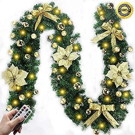 Noble House Lámpara De Guirnalda De Navidad 2.7 M Luz LED Chimenea Escalera Decoración Guirnalda Iluminación Adornos Bola De Flores Árbol De Navidad Decoración Navideña Gold-Battery: Amazon.es: Hogar