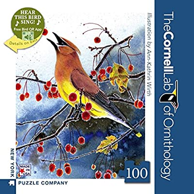 Sonstige New York Puzzle Company  Cornell Lab Cedar Waxwing Mini  100 Piece Jigsaw Puzzle