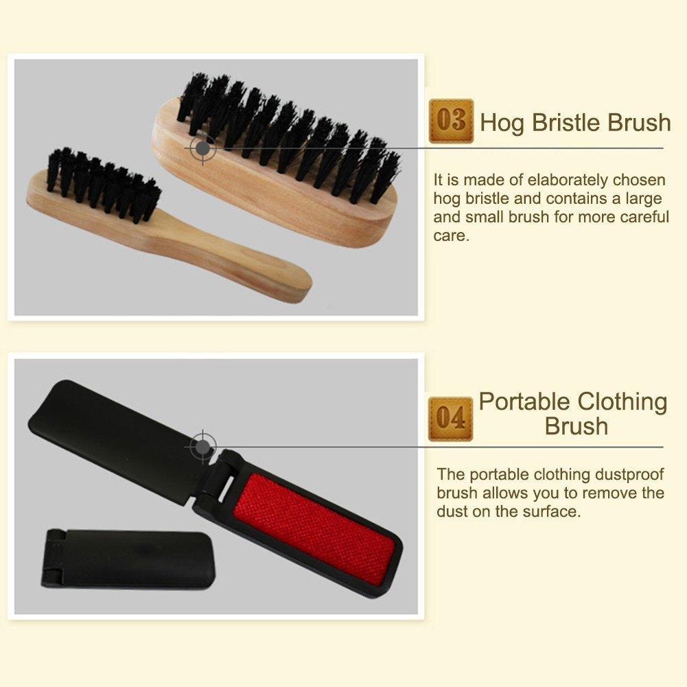 Sundlight 8 Piece Shoe Care Set,Travel Shoe Shine Brush kit for Leather Shoes,Purse,Hat,Belt by Sundlight (Image #6)