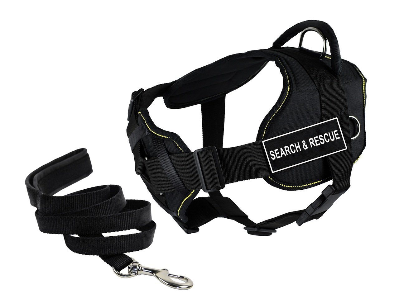 Dean & Tyler's DT Fun Chest Support SEARCH & RESCUE Harness, Small, with 6 ft Padded Puppy Leash.