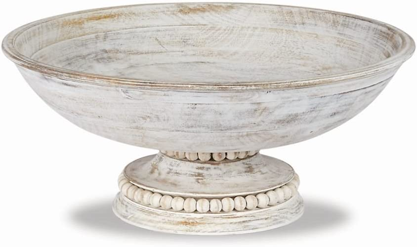 Mud Pie Beaded Wood Pedestal Bowl