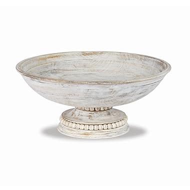 Mud Pie Beaded Wood Pedestal Bowl