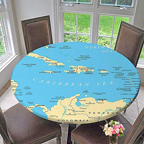 Mikihome Round Table Tablecloth Caribbean Political Map Capitals National Borders mportant Cities Rivers for Wedding Restaurant Party 67