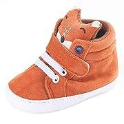AutumnFall Baby Girl Boys Fox Hight Cut Shoes Sneaker Anti-slip Soft Sole Boots (0~6 Months, Orange)