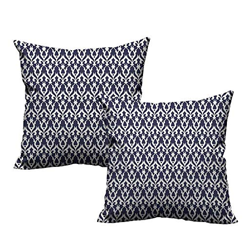 RuppertTextile Fashion Pillowcase Geometric Abstract Style Floral Arrangement with Flower Buds Leaves Contrasting Colors Mildew Proof W18 xL18 2 pcs
