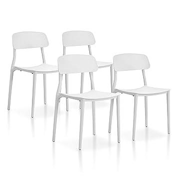 SuenosZzz - Pack sillas (x4) Toy Color Blanco, para Comedor o Cocina | Sillas de Polipropileno | Conjunto de sillas Modernas | Sillas plasticas | ...