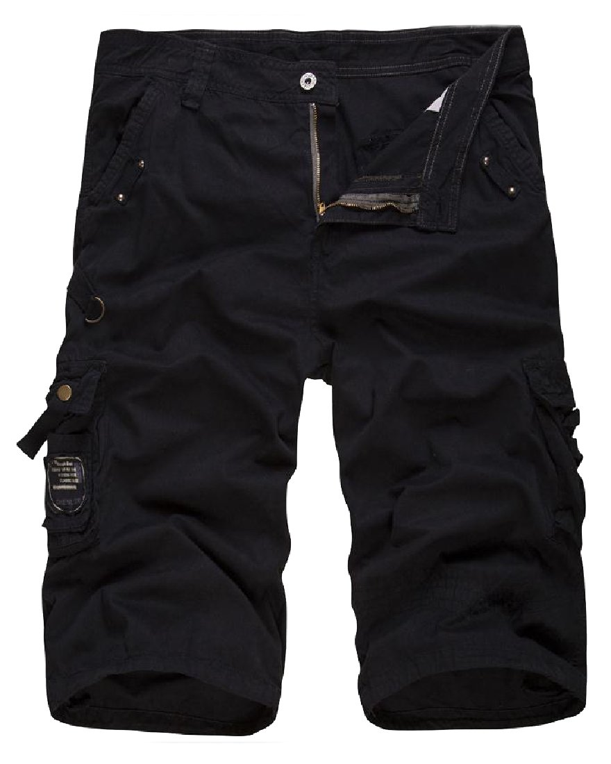 Coolred-Men Washed Fine Cotton Basic Style Textured Cargo Shorts Black 28