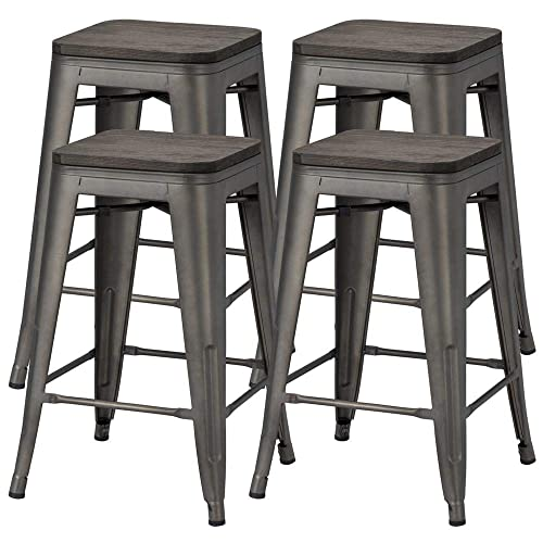 Topeakmart 24 Inches Counter Height Barstools w Wood Seat Set of 4 Metal Counter Stool Kitchen Island Pub Dining Bar Chairs Rustic, 331Lb Black