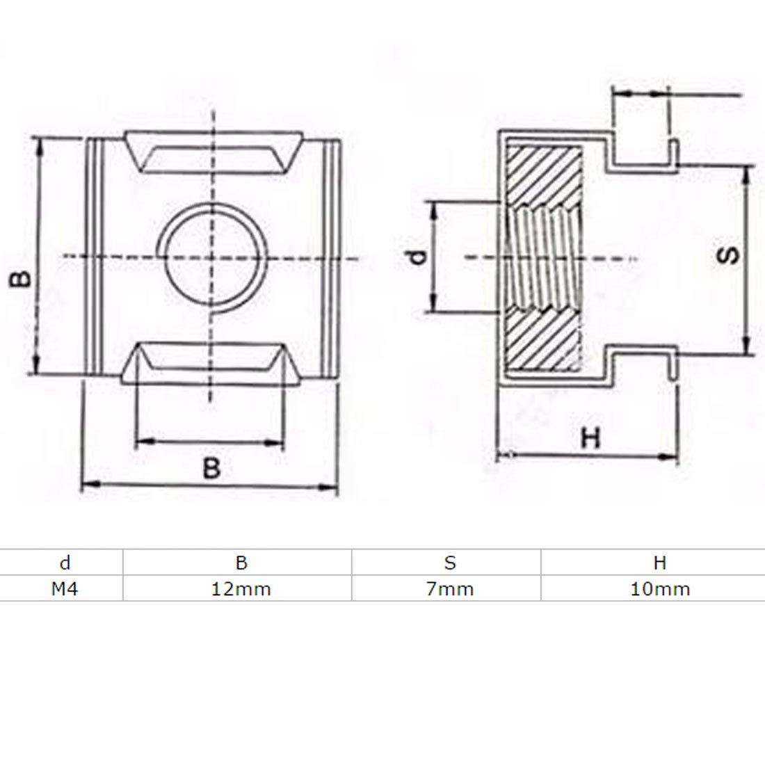Sourcingmap/® M4/x 0.7/mm Abstand 304/Edelstahl K/äfig schwimmende Muttern 10/PCS f/ür Serverschrank.