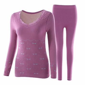 LVLIDAN Mujer Ropa interior térmica Manga larga pantalón invierno Engrosamiento auto-cultivo procesamiento todo el